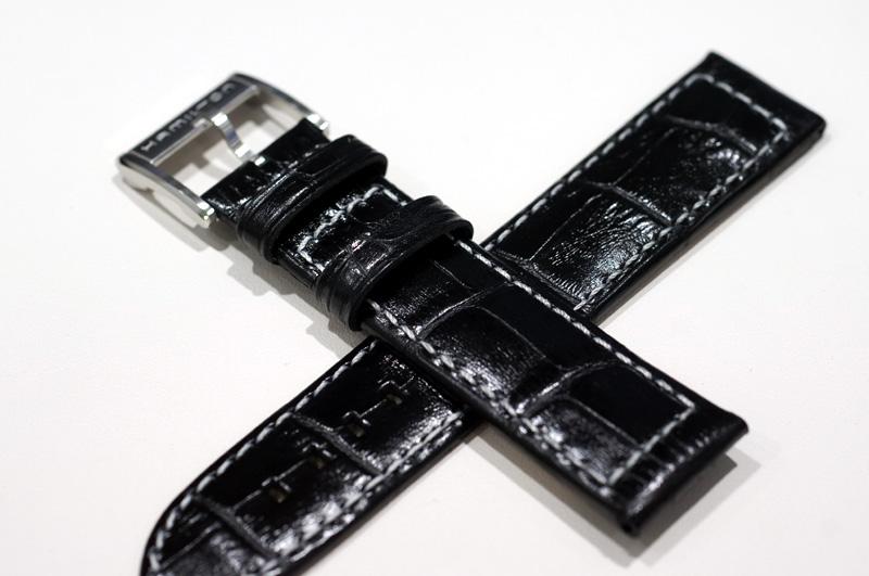 【キャッシュレス決済5%還元】純正ハミルトンHAMILTON 純正ベルト ブラックカーフ型押しベルト 取付21mm  カーキネイビーGMTなどで使用可能【ケース番号H776151】純正カーキネイビーGMT-H776151用