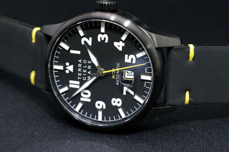 【】正規品 イタリア腕時計 「テッラ・チエロ・マーレ」TERRA CIELO MARE 「アヴィアトーレ マーク2トロピカーナ」AVIATORE ミリタリーブラックPVDケース44ミリ 自動巻