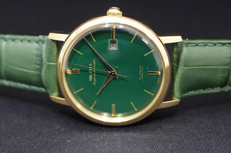 【年越しクーポン発行中】国内正規品【ULTRA】ウルトラ(アルトラ)フランス製腕時計 グリーン文字盤 ビンテージ感漂う 自動巻き 腕時計 38ミリケース 革ストラップ【メンズ】男性用【US272ER】