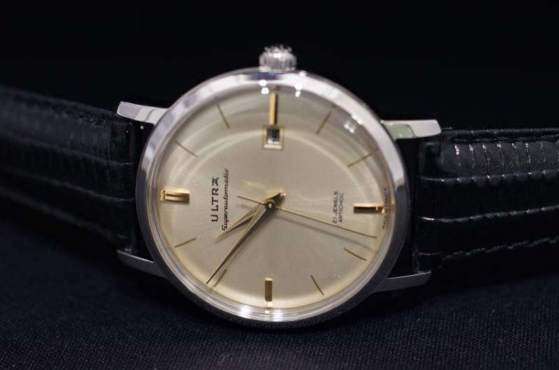 国内正規品【ULTRA】ウルトラ(アルトラ)フランス製腕時計 シャンパンゴールド文字盤 ビンテージ感漂う 自動巻き 腕時計 38ミリケース 革ストラップ【メンズ】男性用【US122JR】