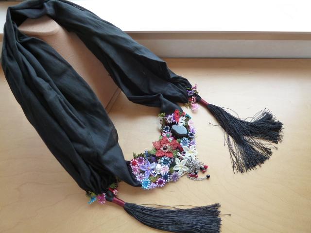 《人気のトルコ雑貨》【送料無料】トルコエスニックのモダンアンティーク【伝統的な民族舞踊用】オヤOYA使いスペシャルスカーフ:ブラック【02P30May15】