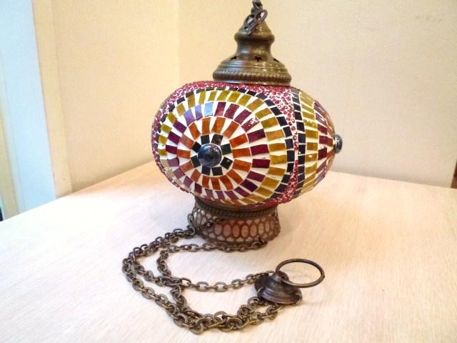 レトロな雰囲気のトルコのハンドメイドモザイクガラスランプ:Lサイズ:カラフル・ラウンド《トルコ雑貨で大人気》