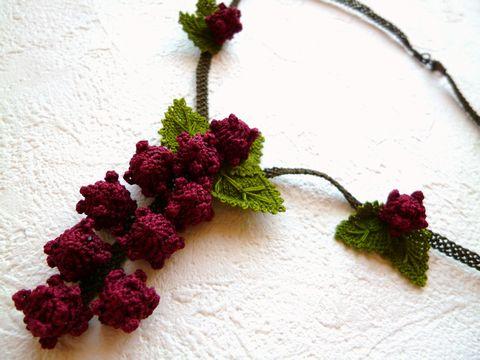 """とうとう最後の一点《イスタンブールより!!》【トルコ雑貨で大人気】可愛くナチュラルなトルコ伝統手芸""""オヤ""""刺繍の山葡萄のようなネックレス"""
