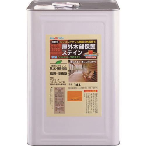 アトムハウスペイント(ウッドデッキ/防虫防腐/塗料)水性ウッドエバープロテクト(ステイン)14L ライトオーク