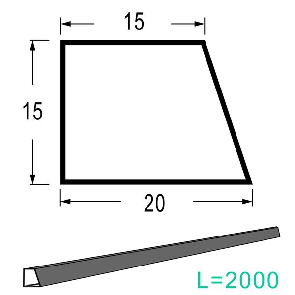 3S L=2M 乾産業 スーパー目地棒 片テーパー W:20×15×15 入数:100個入