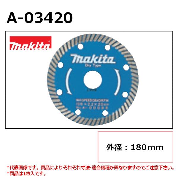【ディスクグラインダ/サンダ・各種カッタ用】 マキタ(makita) 波型 外径180mm A-03420 ダイヤモンドホイール 1枚入 ※画像は代表画像です。寸法表をご確認ください。 【後払い不可】
