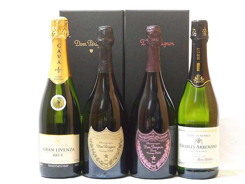 ドンペリ飲み比べ4本セット(ドン ペリニヨン ロゼ、ドンペリニヨン白、+世界の厳選スパークリングワイン(辛口2本))750ml×4本