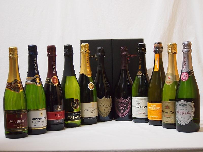 ドンペリ飲み比べ11本セット(ドン ペリニヨン ロゼ、ドンペリニヨン白+ロジャーグラートロゼ750+世界の厳選スパークリングワイン(辛口5本、甘口3本))750ml×11本
