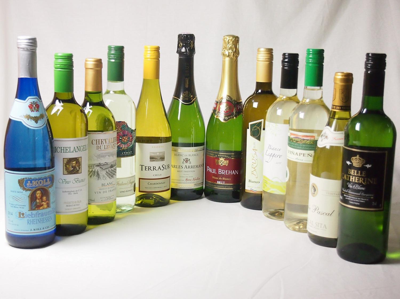 【全品P5倍★11日1:59迄】【特選】高品質ワイン10本福袋(白10本)+優雅でエレガントなスパークリングワイン2本(フランス・イタリア泡・白)豪華セット