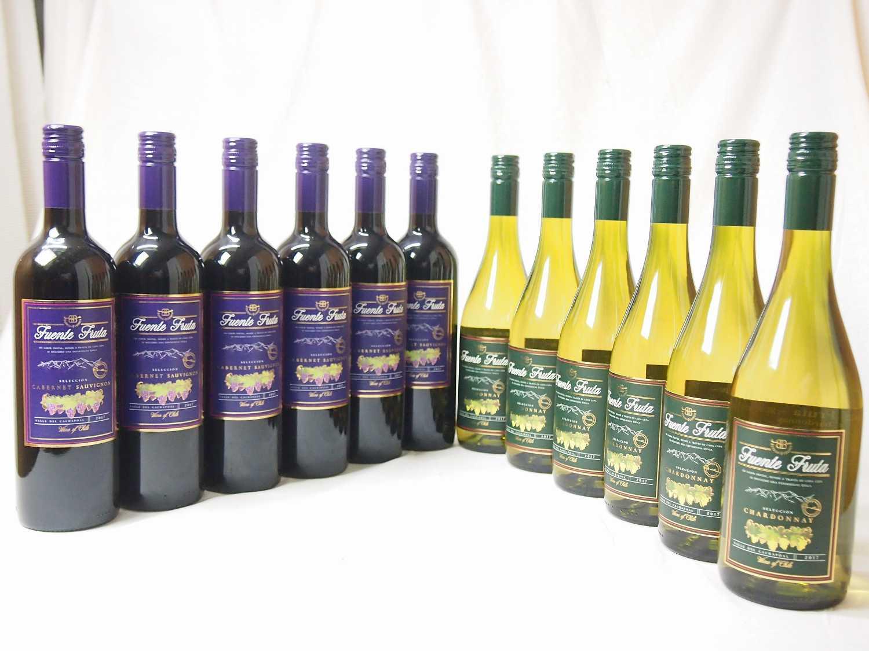 贈り物ギフトセット包装 熨斗 メッセージカード無料 チリワイン赤白セット フエンテ(カベルネ赤ワイン6本 シャルドネ白ワイン6本)計12本