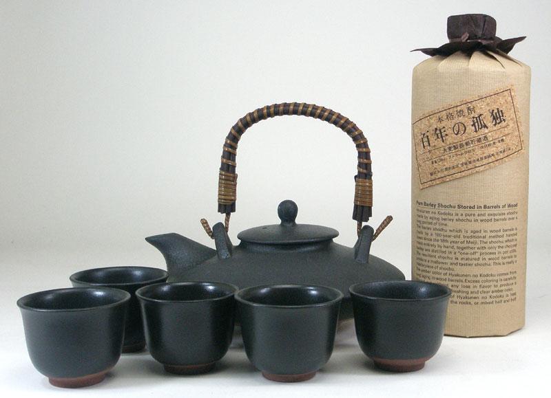 黒千代香セット5客ツル付 (黒木本店 長期麦焼酎 百年の孤独 40度 720ml)