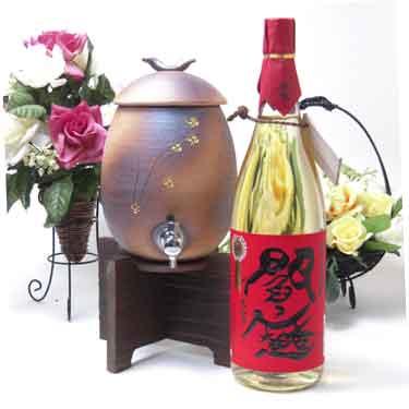 信楽焼・明山窯 焼酎サーバー 火色金小紋 2200cc(専用木台付き)+老松酒造 麦焼酎 閻魔 1800ml