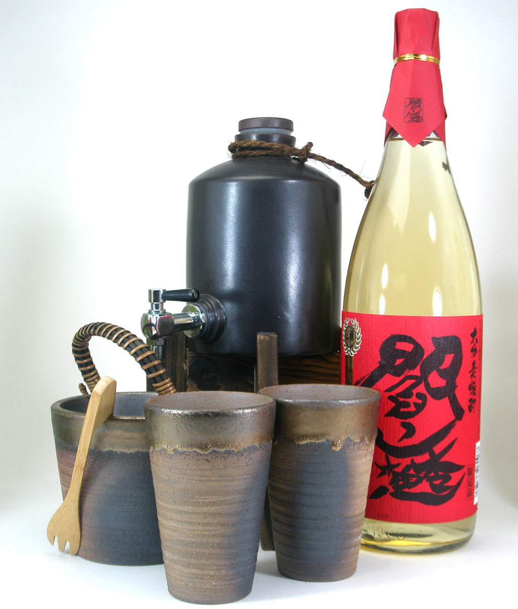 焼酎サーバーセット全セット版(老松酒造 三年長期熟成麦焼酎 閻魔 1800ml)