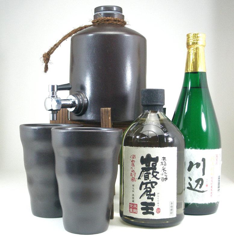 焼酎サーバー豪華セット (【限定酒】米焼酎厳選2本セット(巌窟王、川辺)720mlセット)