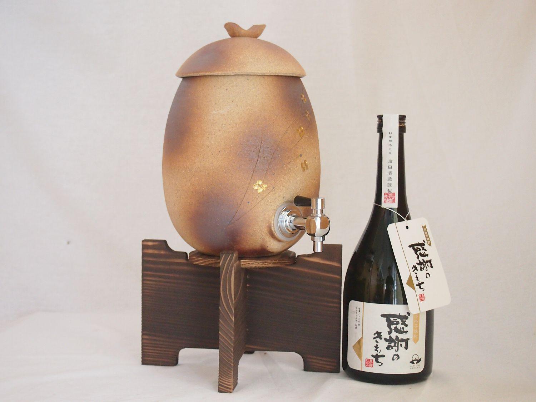信楽焼・明山窯 焼酎サーバー 火色金小紋 2200cc(滋賀県)芋焼酎 濱田酒造 結 720ml(鹿児島)