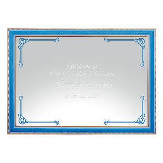 【名入れ】 ミラーウェルカムボード A3ライトブルー