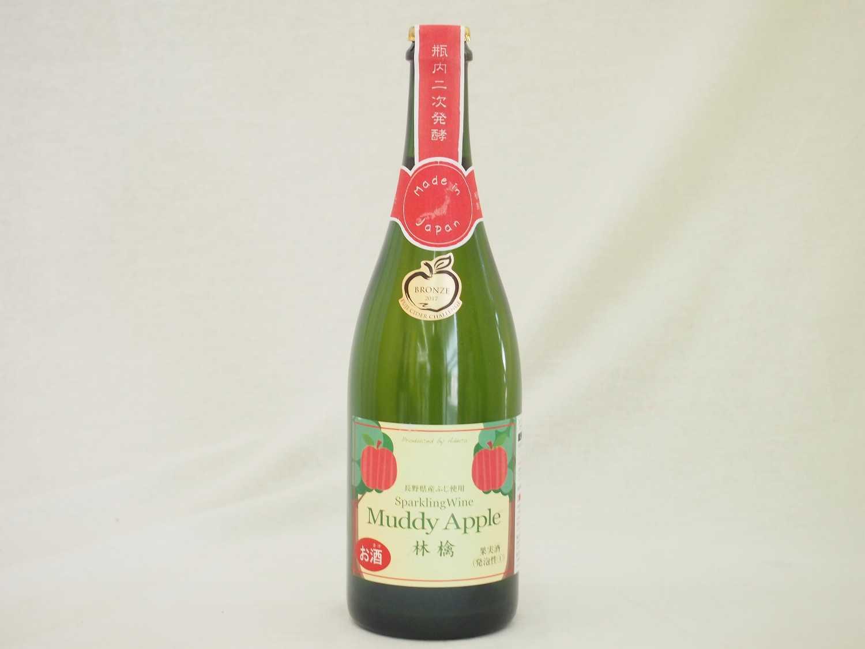 長野県産ふじりんご100%使用 林檎のスパークリングにごりワイン(辛口) マディアップルドライ 750ml×6本