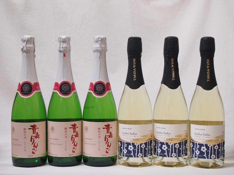国産スパークリンフルーツ甘口ワイン6本セット 京都青谷産スパークリング梅わいん750ml×3本 青森りんご 酵母の泡 スパークリングワイン720ml×3本 計6本