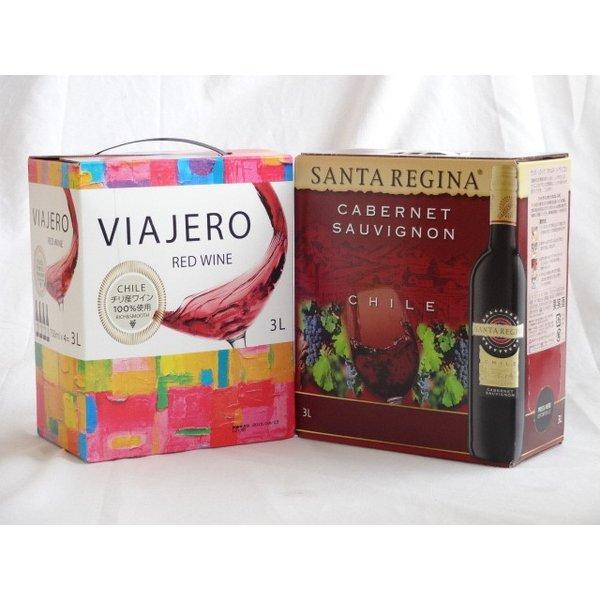 ワインセット 4セット チリ大容量飲み比べセット(ヴィアヘロ 赤ワイン ミディアムボディ 3000ml×4本 サンタ・レジーナ