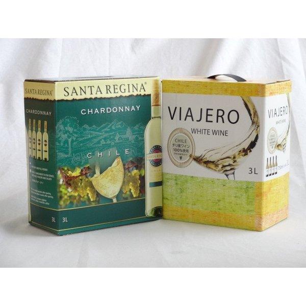 ワインセット 2セット チリ大容量飲み比べセット(サンタ・レジーナ シャルドネ 白ワイン 3000ml×2本 ヴィアヘロ 白ワ