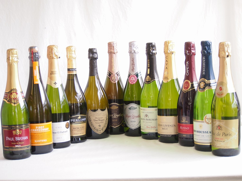 ドンペリ飲み比べ12本セット(ドンペリニヨン ギフト箱付 白 正規輸入品750ml+世界の厳選スパークリングワイン11本
