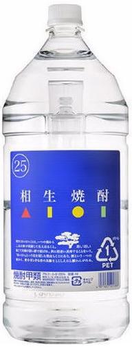 焼酎甲類 1ケースで1梱包 25度 送料無料カード決済可能 日本製 相生焼酎 4L 1ケース4本入り 4リットル 4000ml PET 青ラベル 相生ユニビオ