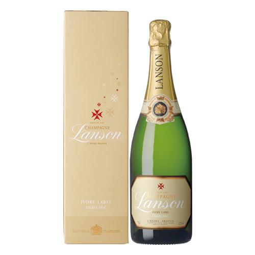 【白ワイン】フランス ランソン アイボリーラベル・ドミ・セック・ギフト 750ml×6本【中甘口】【スパークリング】【ランソン】