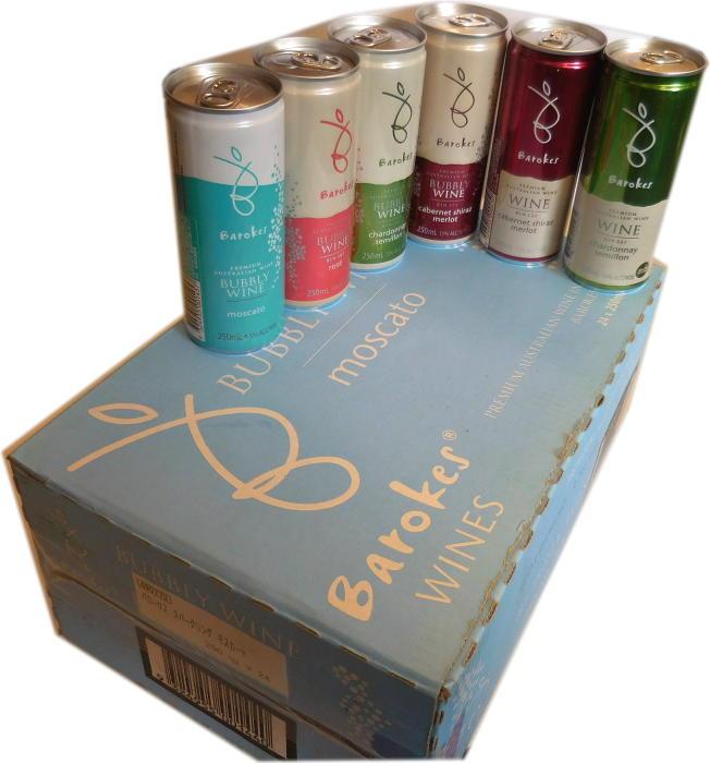 【送料無料】 缶入りワイン バロークス ワイン&スパークリング 6種セット(飲み比べセット)250ml×24本入り(6種×4本づつ) 1箱