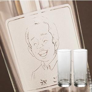 【名入れ彫刻ボトル/彫刻タンブラー】送料無料!シンプル タンブラー 300ml(湯呑み×似顔絵彫刻)ペアセット