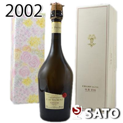 *【送料及びクール代金無料】【白ギフトBoxに汚れ・ボトルにキズあり】【ギフトボックス入】【ミニナイフ付】ジ・ド・テルモン キュヴェO.R・1735・[2002] 白泡 750ml