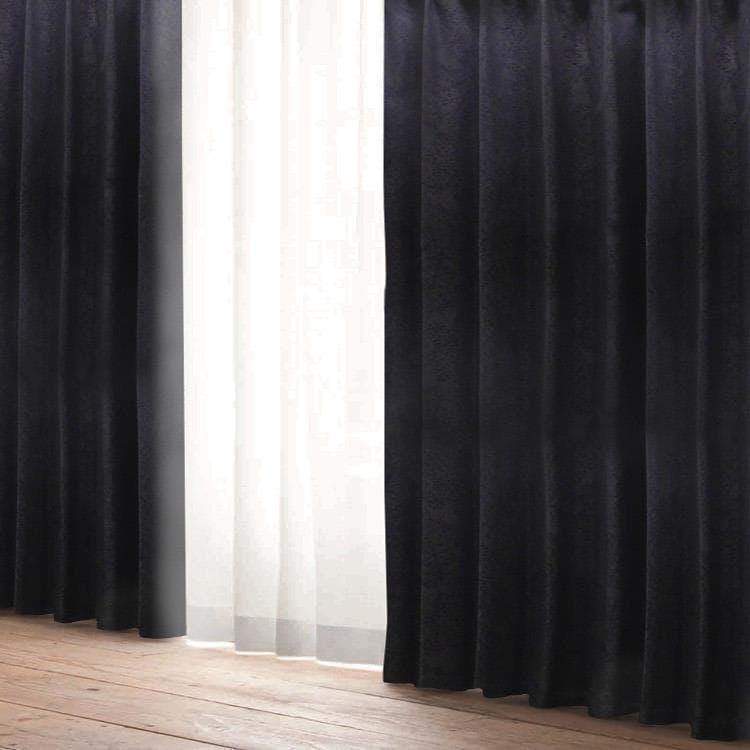 ロジック断熱 100X200cm ブラック 黒 ドレープカーテン カーテン おしゃれ 新生活