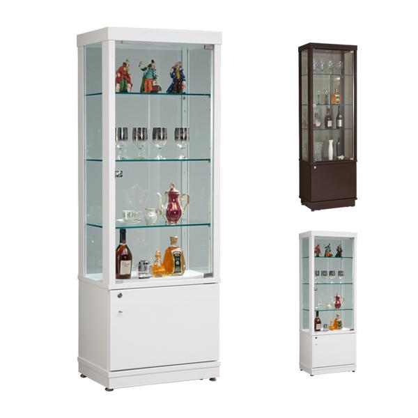 コレクションボード LEDライト付き 幅60 高さ72 コレクションラック コレクションケース ガラス コレクション 棚 ホワイト ブラウン 【KM-EAS】MT(Web限定)