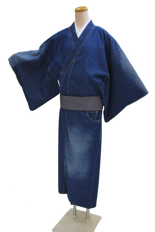 お仕立て上がりメンズきもの デニム着物巡-MEGURU-【着物単品】ダメージ加工【送料無料でお届けします】