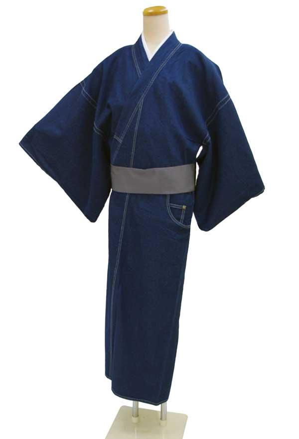 お仕立て上がりメンズきもの デニム着物巡-MEGURU-【着物単品】インディゴ【送料無料でお届けします】