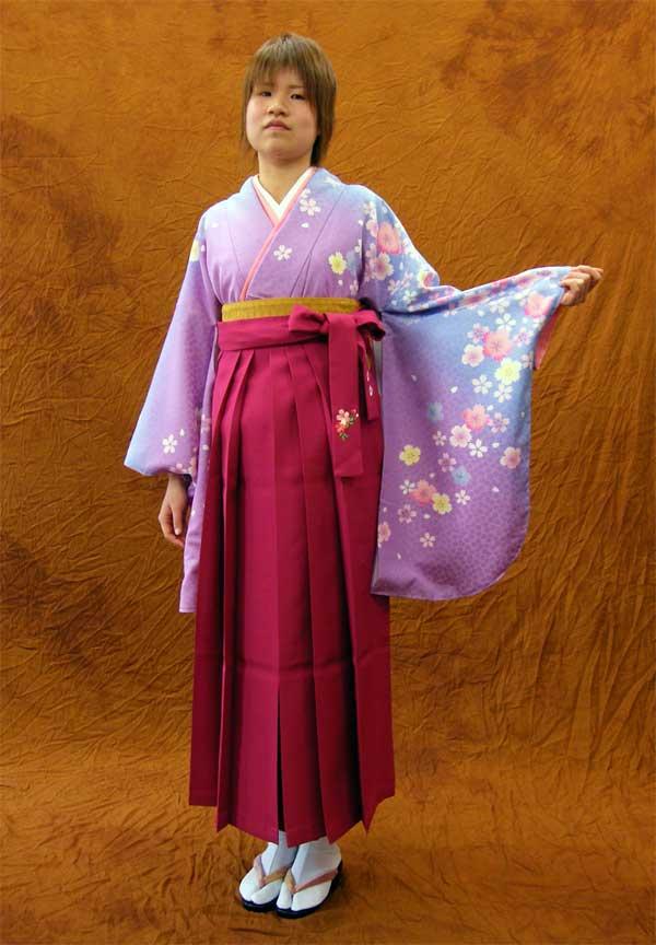 レンタルきもの 水色から京紫の桜柄2尺袖【1週間レンタル(6泊7日)】《レンタル用着物》【往復送料無料】