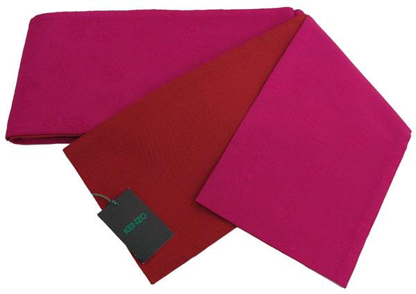 【送料無料でお届けします】KENZOブランド♪リバーシブル 半幅帯・小袋帯・浴衣帯【両面地柄入り レッド色 × ピンク色地】