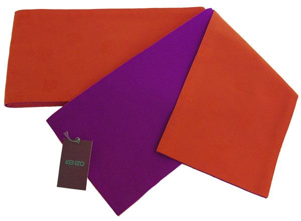 【送料無料でお届けします】KENZOブランド♪リバーシブル 半幅帯・小袋帯・浴衣帯【両面地柄入り オレンジ色 × パープル色地】
