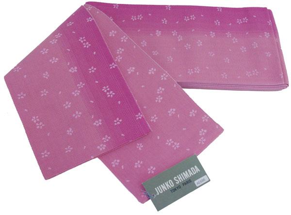【送料無料でお届けします】JUNKO SHIMADA ブランド♪島田順子 ゆかた帯リバーシブル 半幅帯・小袋帯・浴衣帯【ピンク色グラデーション × ピンク色地】