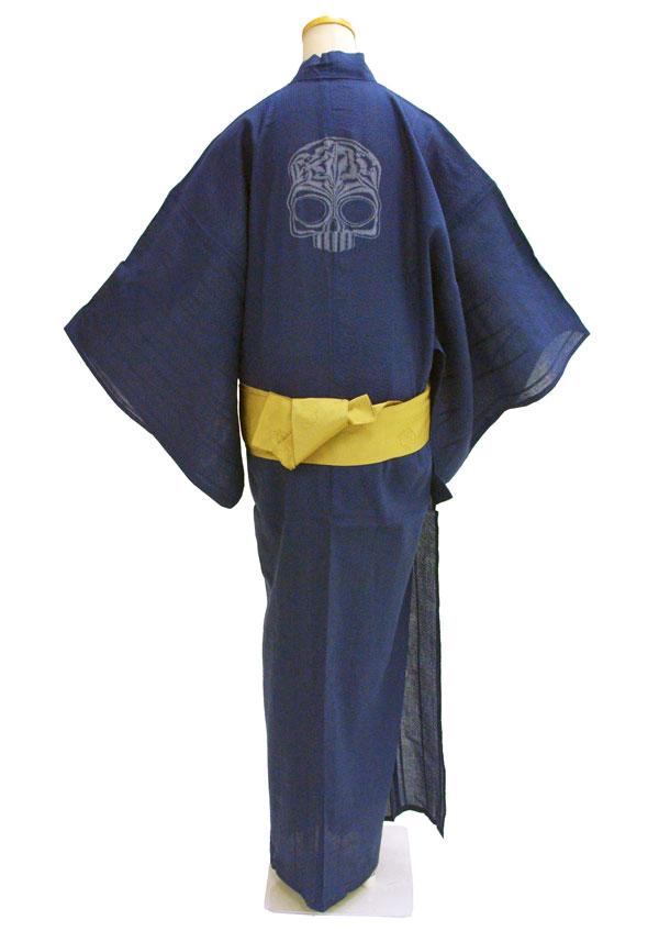 【Lサイズ・藍鉄色】【ドクロ刺繍風プリント柄】お仕立て上りメンズ浴衣ドクロ柄 どくろ柄 髑髏柄 スカル柄