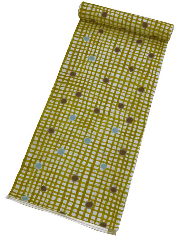 【綿麻 ゆかた反物】ツモリチサトオーダーメイドでお仕立て可能ですtsumori chisato 高級 綿麻ゆかた 反物【日本製】ブランドゆかた反物・変織キングサイズ からし色地メンズ・レディース・ジュニア・子ども用にも最適