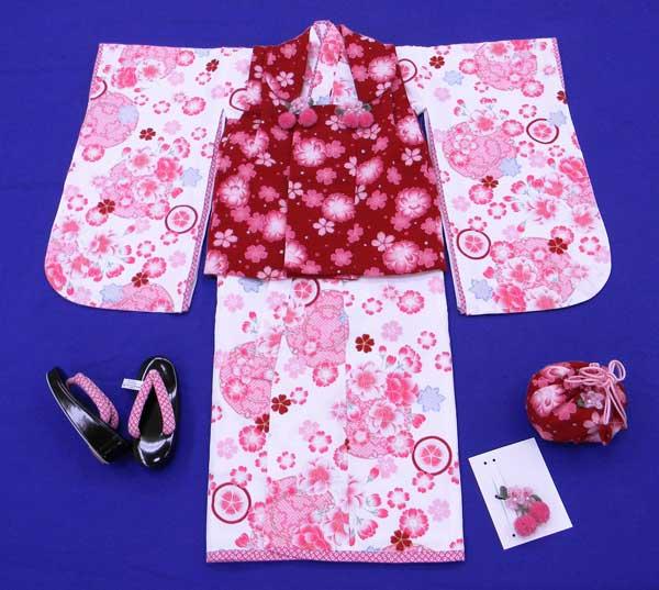 【刺繍半衿プレゼント付き】JAPANSTYLE着物3才女児 ブランド着物被布セット