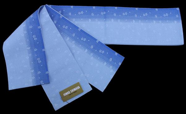 【送料無料でお届けします】JUNKO SHIMADA ブランド♪島田順子 ゆかた帯リバーシブル 半幅帯・小袋帯・浴衣帯【水色グラデーション × 水色地】