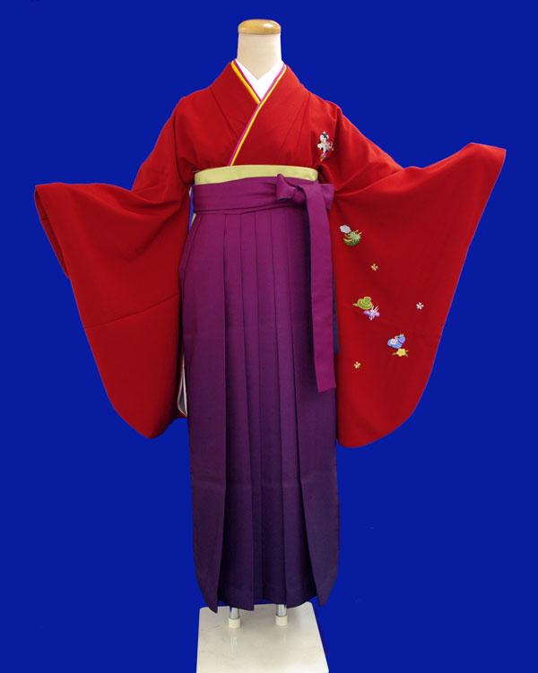 【往復送料無料】レンタルきもの赤色・干支刺繍入り無地2尺袖【1週間レンタル(6泊7日)】《レンタル用着物》