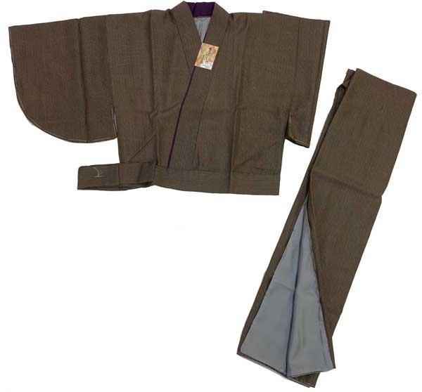 洗える着物うるわし (わずかに紫がかった灰みの焦茶) 二部式 洗える 着物 Lサイズ 二部式着物ワンランク上 きもの【 の 空五倍子色地 高級 】 二部式