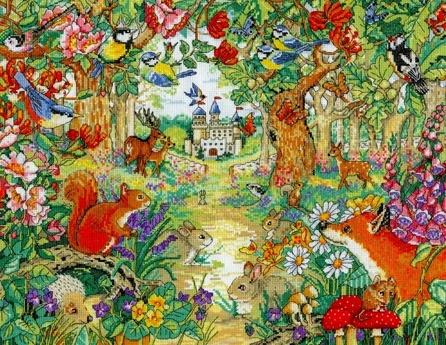 海外製の美しいデザイン たくさんの動物たちが可愛い Design Works クロスステッチキット Woodland Castle 期間限定 刺繍キット 輸入 人気上昇中 デザインワークス 上級 森の中のお城と動物たち