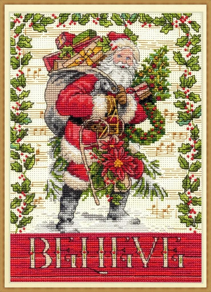 送料無料 素敵なクリスマス 海外輸入 刺繍キット 大規模セール 早割クーポン クロスステッチキット クリスマス Dimensions in Santa Believe サンタクロース ディメンションズ