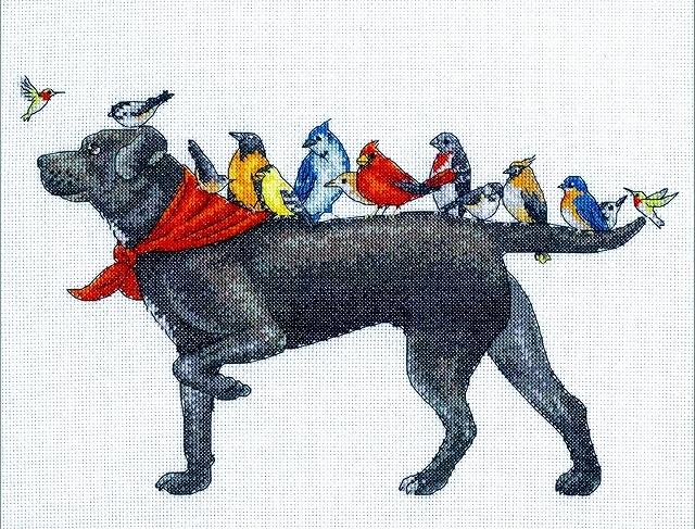 人気 アメリカ 海外輸入刺繍キット お散歩中 犬 初級から上級まで 14カウント ショッピング クロスステッチキット 初心者 Dimensions Bird ラブラドール Dog 犬と小鳥たち 動物 鳥 送料無料 買物