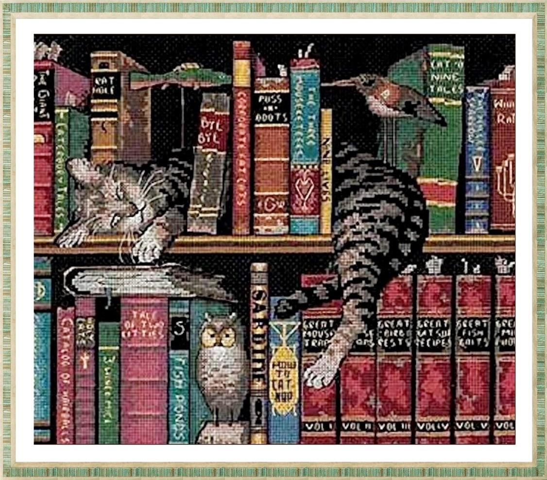 送料無料 人気 全品最安値に挑戦 アメリカ 即出荷 輸入キット cat かわいい動物 中級 上級 クロスステッチキット 刺繍キット ディメンションズ DIMENSIONS Frederick 図書館の学者さま Literate the 猫