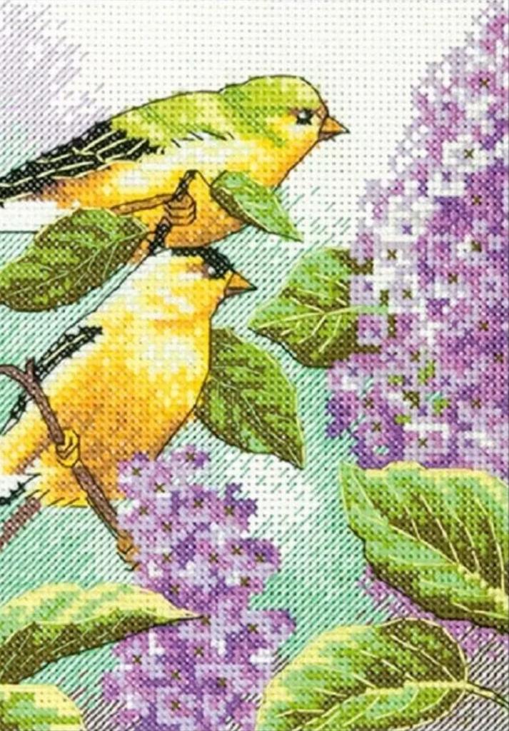 アメリカ 刺繍キット 初心者 超安い 春 季節 美しい花 Dimensions 流行のアイテム クロスステッチキット ディメンションズ 送料無料 and Lilacs ライラック 小鳥 Goldfinch