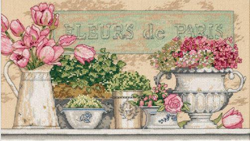 割引 窓辺に並んだ花々が美しい 保証 春 輸入 Dimensions クロスステッチキット Flowers of 送料無料 Paris 刺繍キット パリの花 ディメンションズ 花